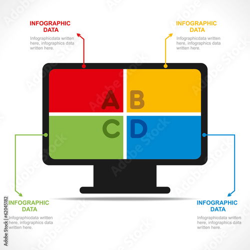 creative desktop monitor info-graphics design concept vector