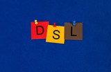DSL, sign series for computers, internet, data transfer and tech