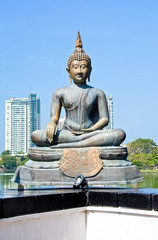 Buddha Statue In Gangarama Temple In Colombo