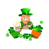 Cute cartoon Leprechaun. St Patrick Day