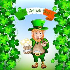 Cute cartoon Leprechaun. St Patrick Day