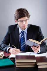 Lawyer working in his office