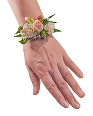 Bracelet from flowers on hand. Wedding accessories.
