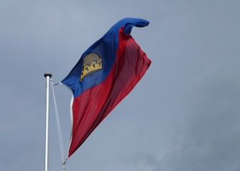 The flag of Liechtenstein blowing in the wind