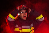 Shocked firefighter in action