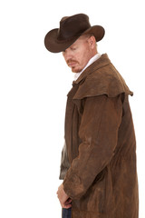 Cowboy leather duster look down side