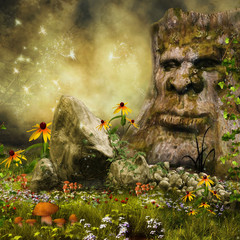 Baśniowe drzewo na łące z kwiatami, grzybami i skałami
