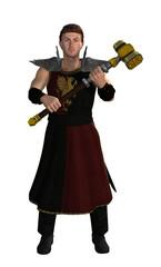 giovane guerriero con martello