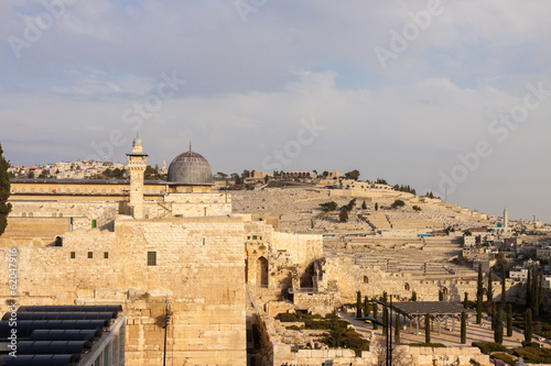 Ancient dome of mousque of Al-aqsa and Mount Olives