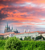 View on the colorful summer Prague gothic Castle above River Vlt
