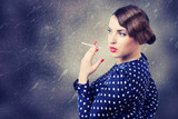 portrait of retro woman with cigarette