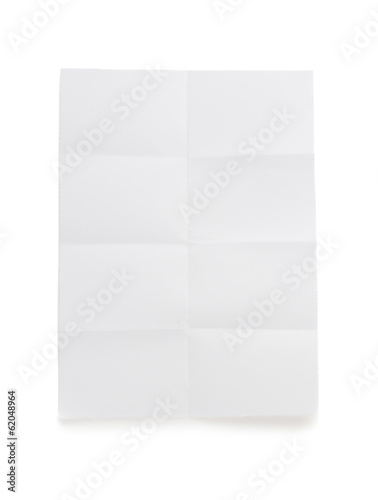 folded note paper  on white