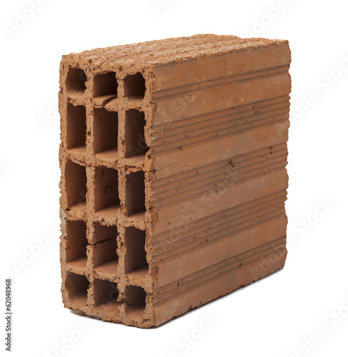 single brick on white background