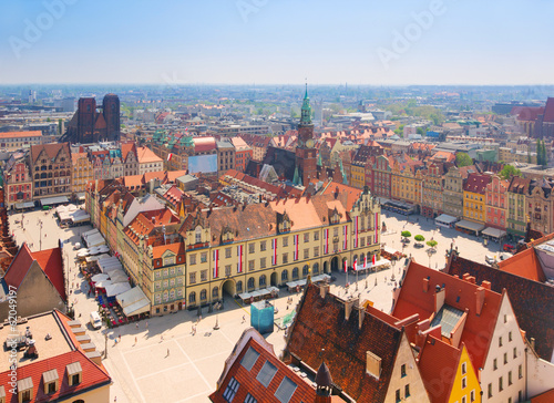 Fototapety, obrazy : old town square with city hall, Wroclaw