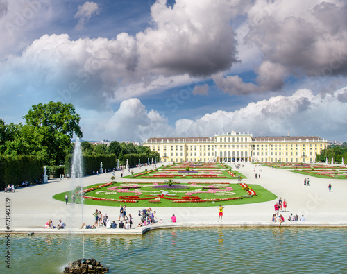 Beautiful view of famous Schoenbrunn Palace with Great Parterre