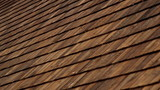 Closer image Cedar wooden shingles roof roofing roofworking tar