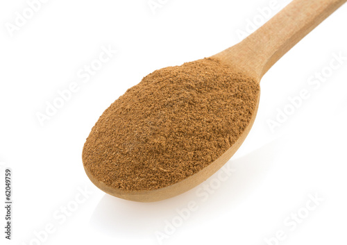 cinnamon in spoon on white