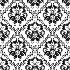 seamless wallpaper.damask pattern.black and white background