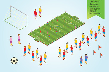 Isometric detail Football players in stadium
