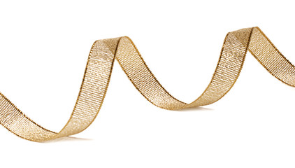 Beautiful glitter gold ribbon tape curl isolated on white