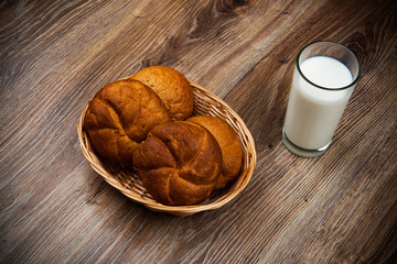 Bread and a glass of milk