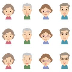 顔 表情セット  高齢者 男女