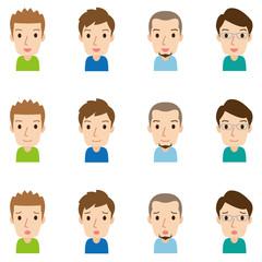 顔 表情セット/高齢者 男性