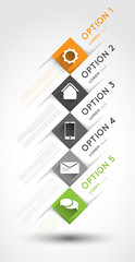 infographic template, option squares banners with icons