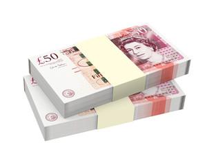 English money isolated on white background.