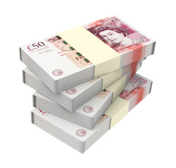 English money isolated on white background.