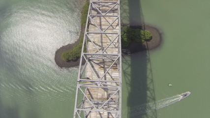 Flying over the Bridge of the Americas