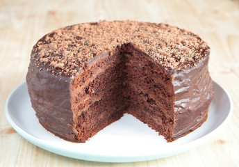Chocolate sponge cake with chocolate buttercream frosting