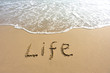 life word drawn on beach