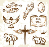 Set of easter Christianity symbols