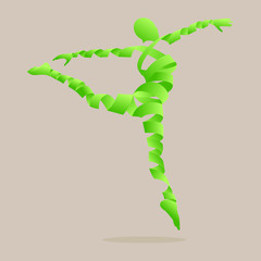 Abstract ribbon shaped with aerobics dance to slim.
