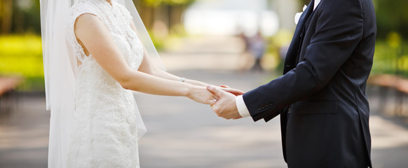 Young wedding caucasian couple. Groom and bride together.