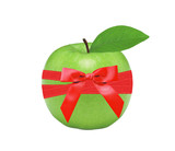 Fresh green apple and red bow isolated on white