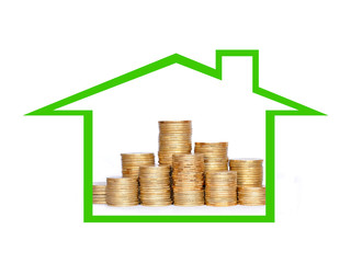 Many coins in column in house. Financial concept.