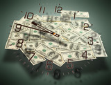 Cash dollars. Concept of time is money.