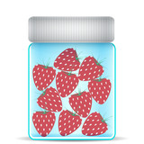 strawberries in a glass jar