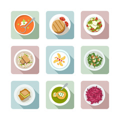 Vegetarian cuisine. Flat icons in color