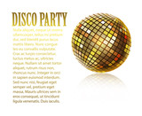 background with disco ball,banner., vector design disco party