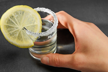 Tequila cocktail with lemon