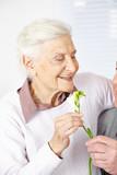 Mann schenkt Seniorin Freesien