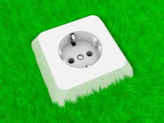 Öko - Steckdose im Gras
