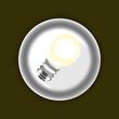 3d bulb white icon