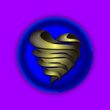 3d golden heart blue icon