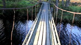 Walking steadily on the hanging bridge