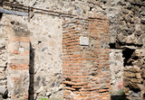 Ancient Stone and Brick Walls in Pompeii