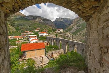 Ancient  aqueduct in Stari Bar. Montenegro